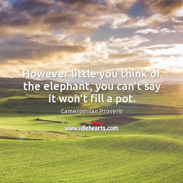 However little you think of the elephant, you can't say it won't fill a pot. Cameroonian Proverbs Image