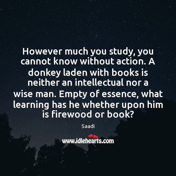 However much you study, you cannot know without action. A donkey laden Saadi Picture Quote