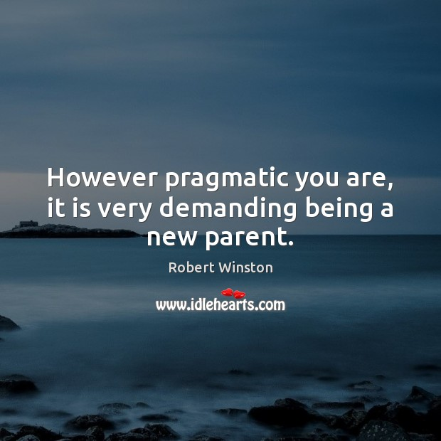 However pragmatic you are, it is very demanding being a new parent. Image