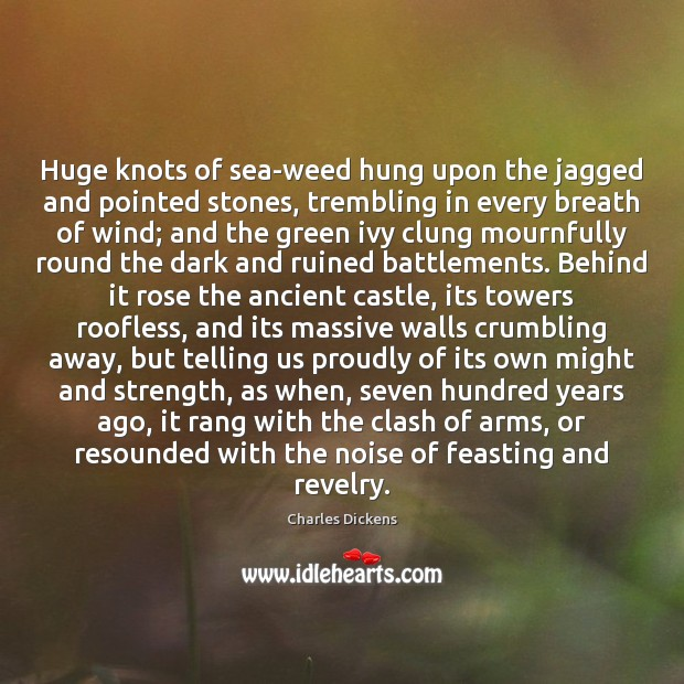 Image, Huge knots of sea-weed hung upon the jagged and pointed stones, trembling