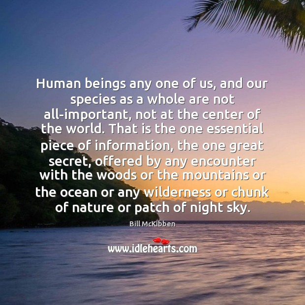 Human beings any one of us, and our species as a whole Bill McKibben Picture Quote