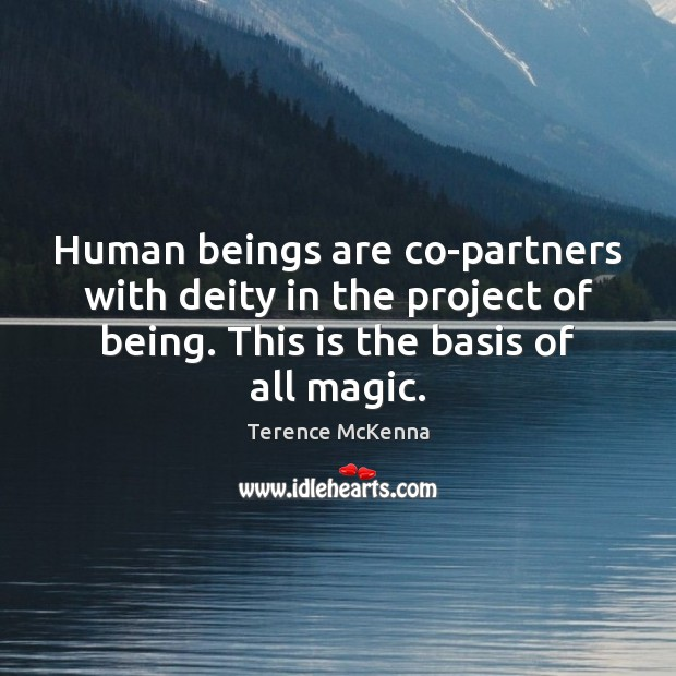 Human beings are co-partners with deity in the project of being. This Terence McKenna Picture Quote