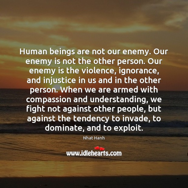 Human beings are not our enemy. Our enemy is not the other Nhat Hanh Picture Quote