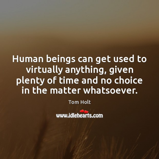 Human beings can get used to virtually anything, given plenty of time Tom Holt Picture Quote