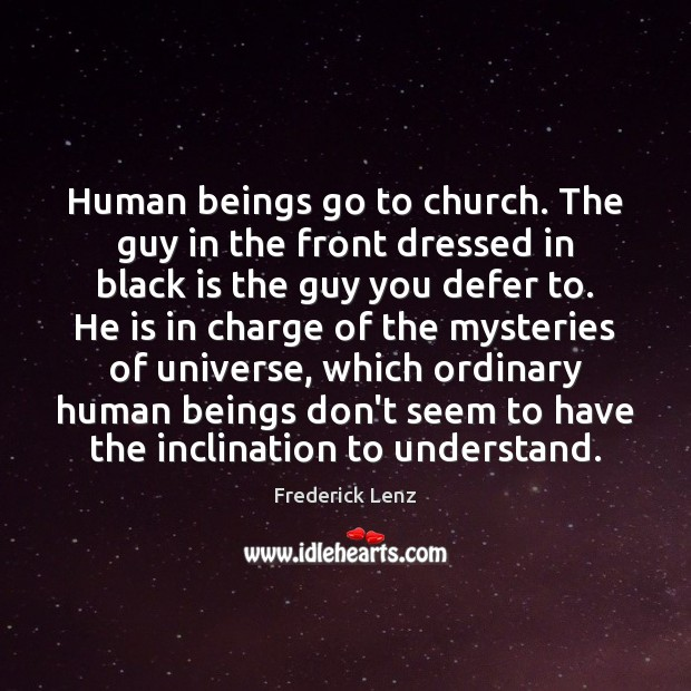 Image, Human beings go to church. The guy in the front dressed in