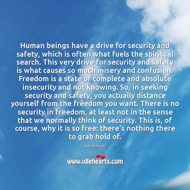 Human beings have a drive for security and safety, which is often Safety Quotes Image