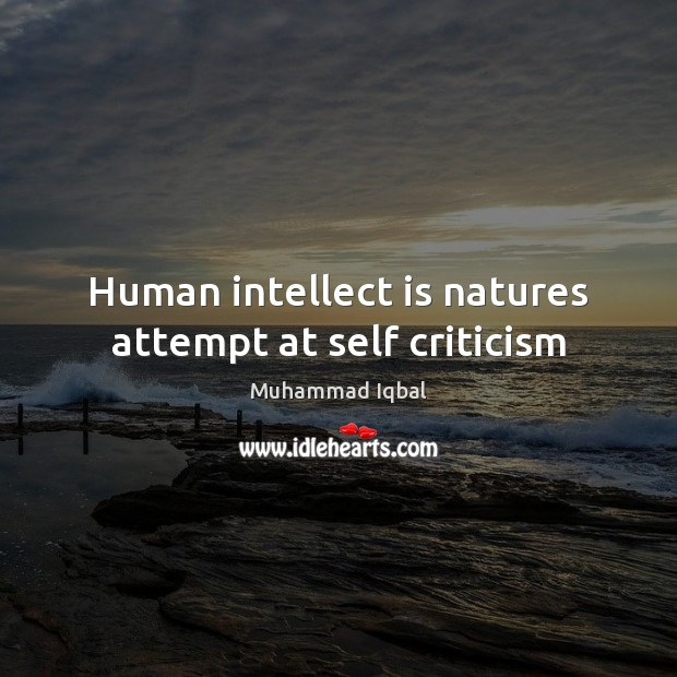Human intellect is natures attempt at self criticism Image