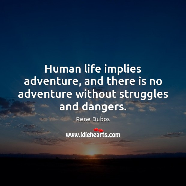Human life implies adventure, and there is no adventure without struggles and dangers. Rene Dubos Picture Quote