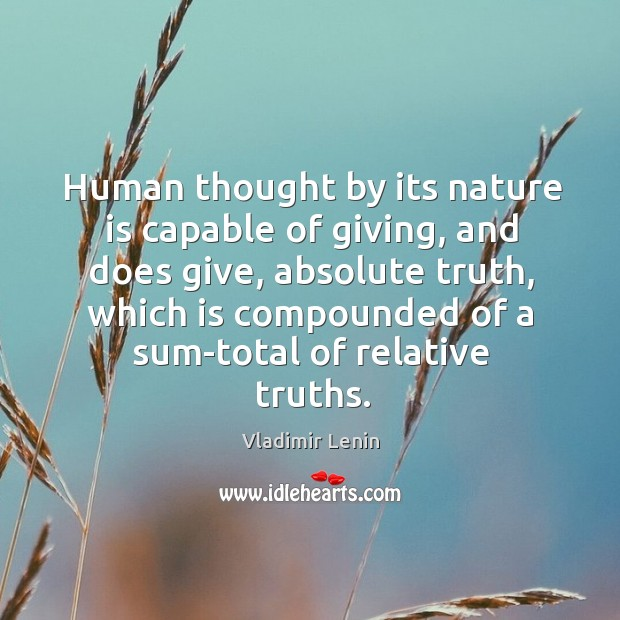 Human thought by its nature is capable of giving, and does give, Image