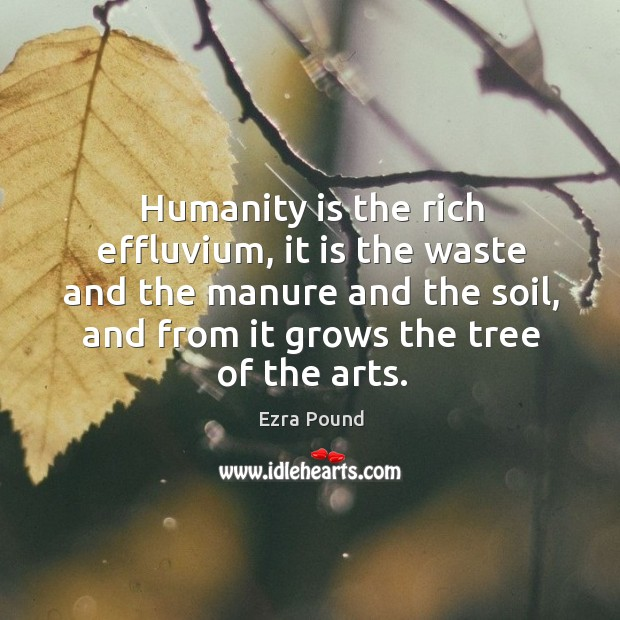 Humanity is the rich effluvium, it is the waste and the manure and the soil, and from it grows the tree of the arts. Image