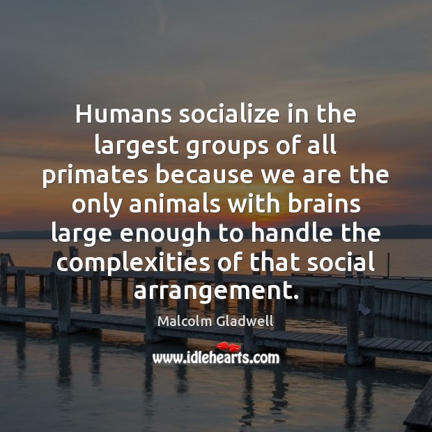 Image, Humans socialize in the largest groups of all primates because we are