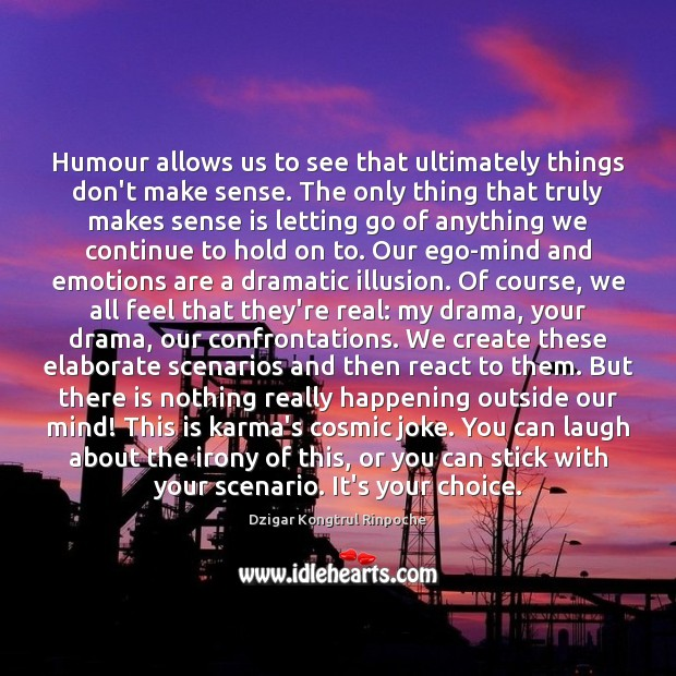 Humour allows us to see that ultimately things don't make sense. The Karma Quotes Image