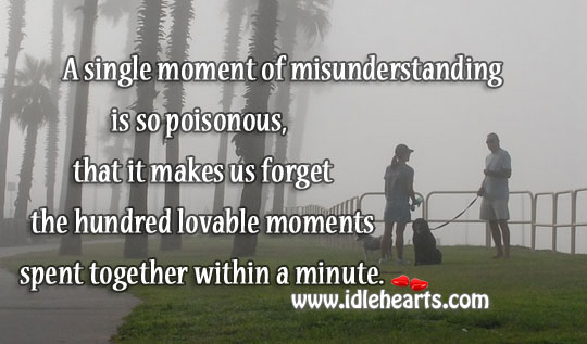Single Moment Of Misunderstanding Is So Poisonous.