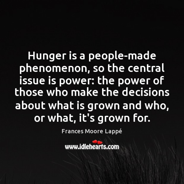 Hunger is a people-made phenomenon, so the central issue is power: the Image