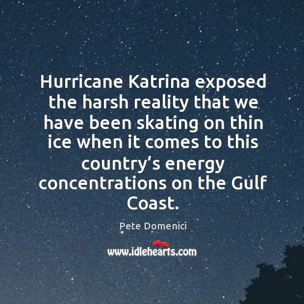 Hurricane katrina exposed the harsh reality that we have been skating on thin ice Image