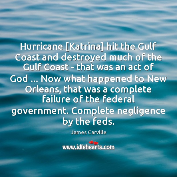 Hurricane [Katrina] hit the Gulf Coast and destroyed much of the Gulf James Carville Picture Quote