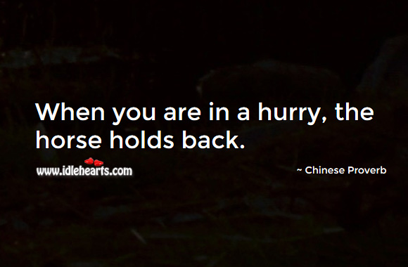 When you are in a hurry, the horse holds back. Chinese Proverbs Image