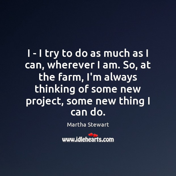 Martha Stewart Picture Quote image saying: I – I try to do as much as I can, wherever