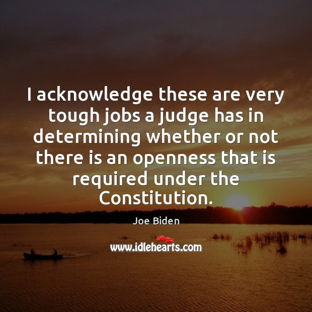 I acknowledge these are very tough jobs a judge has in determining Image