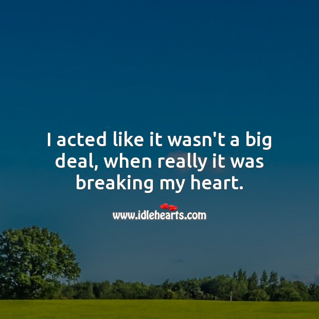 I acted like it wasn't a big deal, when really it was breaking my heart. Broken Heart Messages Image