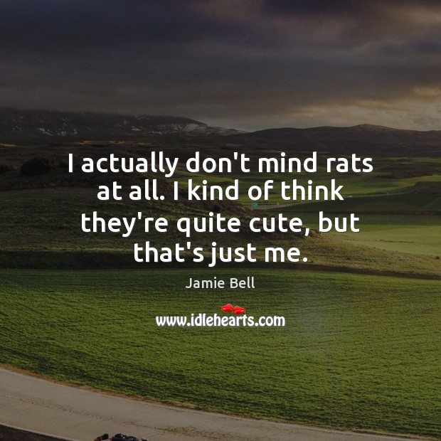 I actually don't mind rats at all. I kind of think they're quite cute, but that's just me. Image