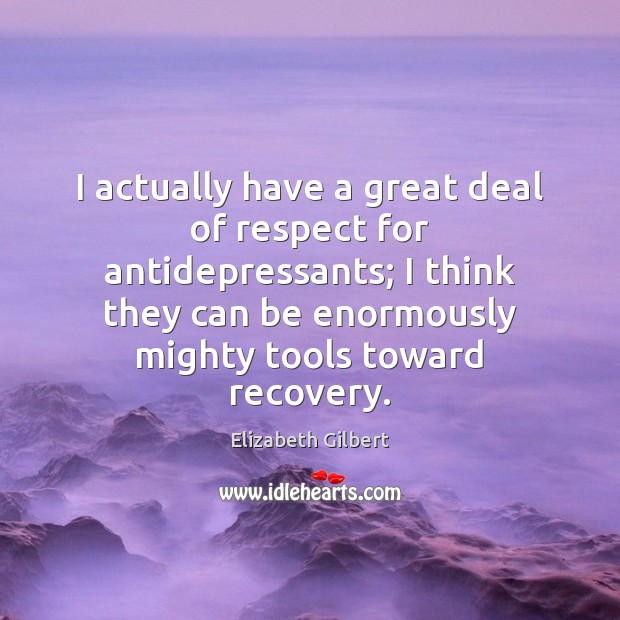 I actually have a great deal of respect for antidepressants; I think Elizabeth Gilbert Picture Quote