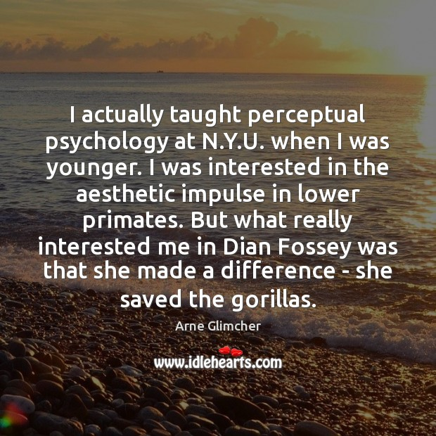 Image, I actually taught perceptual psychology at N.Y.U. when I was