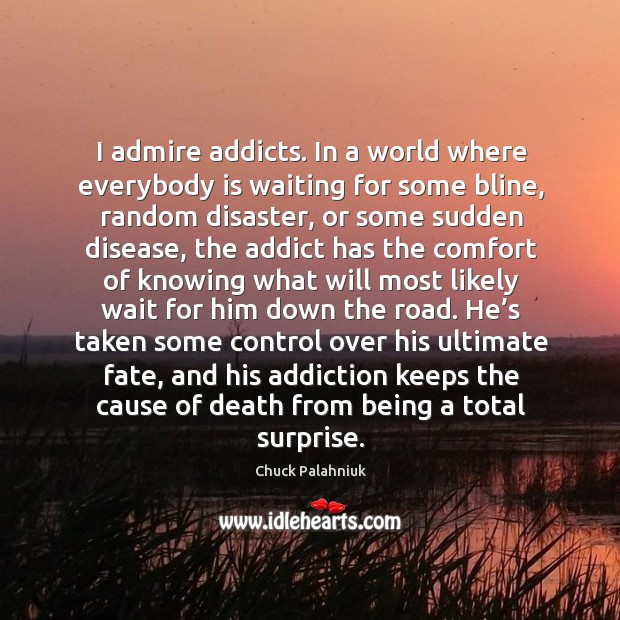 Image, I admire addicts. In a world where everybody is waiting for some bline, random disaster