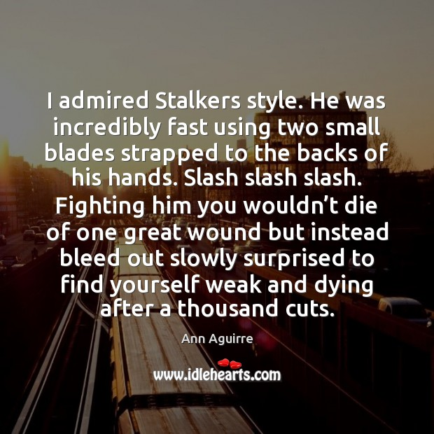 I admired Stalkers style. He was incredibly fast using two small blades Ann Aguirre Picture Quote
