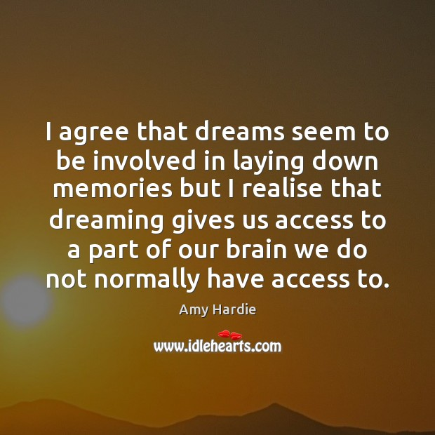 I agree that dreams seem to be involved in laying down memories Image