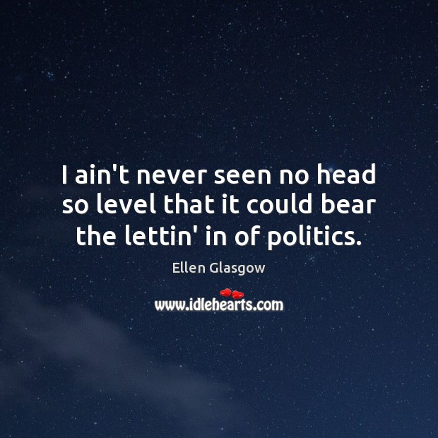 Image, I ain't never seen no head so level that it could bear the lettin' in of politics.