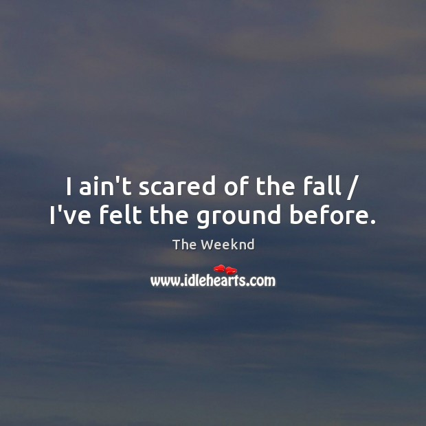 I ain't scared of the fall / I've felt the ground before. Image