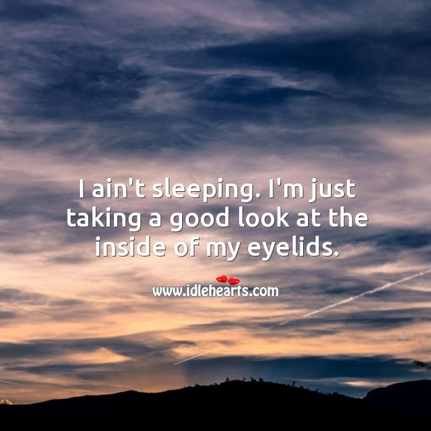 I ain't sleeping. I'm just taking a good look at the inside of my eyelids. Funny Quotes Image