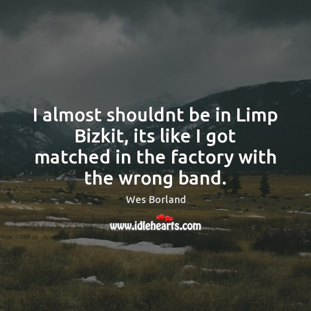 I almost shouldnt be in Limp Bizkit, its like I got matched Wes Borland Picture Quote