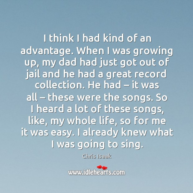 I already knew what I was going to sing. Chris Isaak Picture Quote