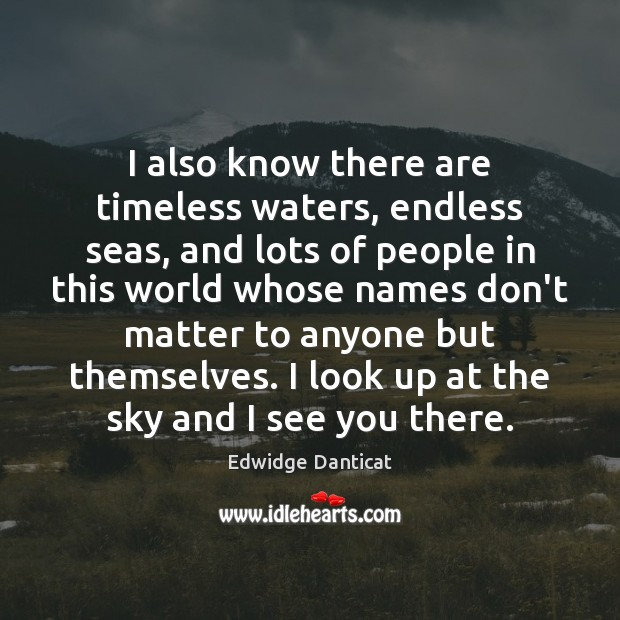 I also know there are timeless waters, endless seas, and lots of Edwidge Danticat Picture Quote