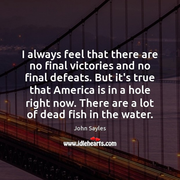 I always feel that there are no final victories and no final Image