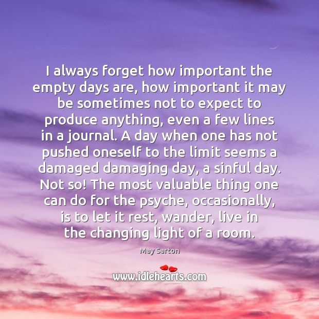 I always forget how important the empty days are, how important it May Sarton Picture Quote
