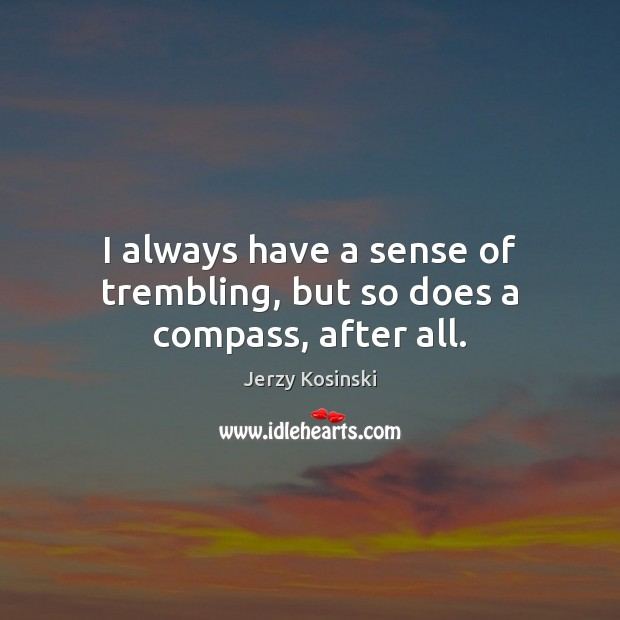 I always have a sense of trembling, but so does a compass, after all. Image