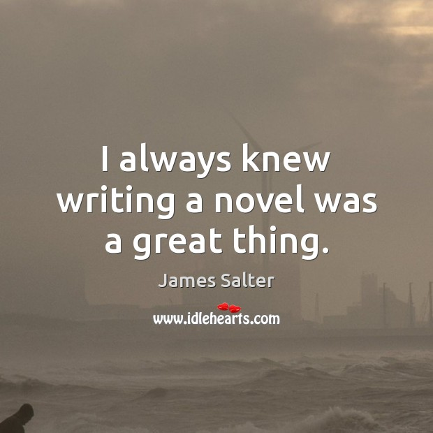 I always knew writing a novel was a great thing. James Salter Picture Quote