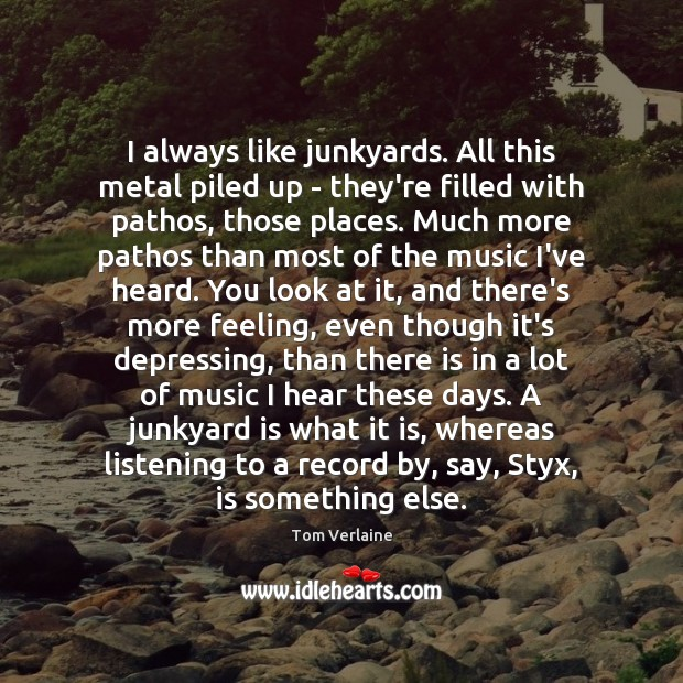 I always like junkyards. All this metal piled up – they're filled Tom Verlaine Picture Quote