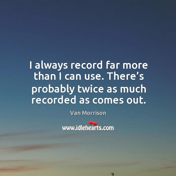 I always record far more than I can use. There's probably twice as much recorded as comes out. Image