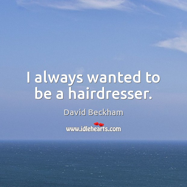 I always wanted to be a hairdresser. David Beckham Picture Quote