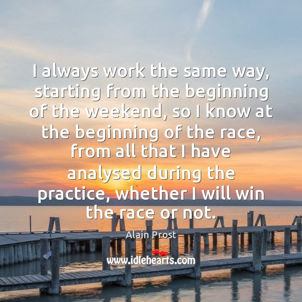 I always work the same way, starting from the beginning of the Practice Quotes Image