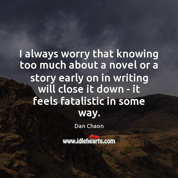 Image, I always worry that knowing too much about a novel or a