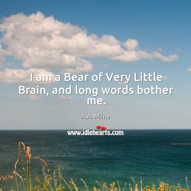 I am a bear of very little brain, and long words bother me. Image