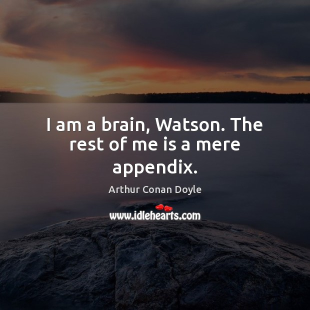 Image, I am a brain, Watson. The rest of me is a mere appendix.