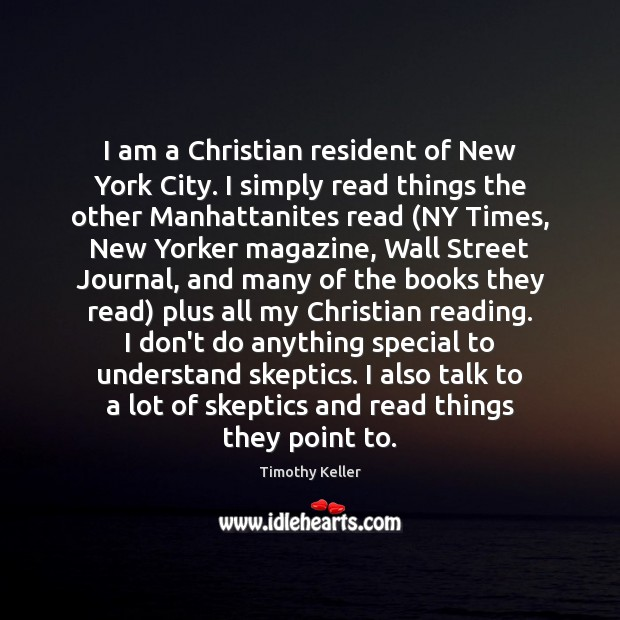 I am a Christian resident of New York City. I simply read Image