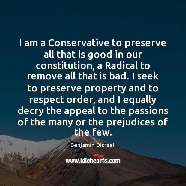 I am a Conservative to preserve all that is good in our Image