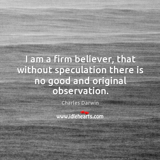 I am a firm believer, that without speculation there is no good and original observation. Image